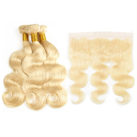 613 Blonde Body Wave Bundles with 13*4 Lace Frontal - Mula Hair