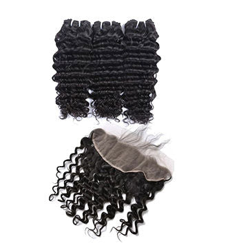 Malaysian Deep Wave Bundles with 13*4 Lace Frontal - Mula Hair