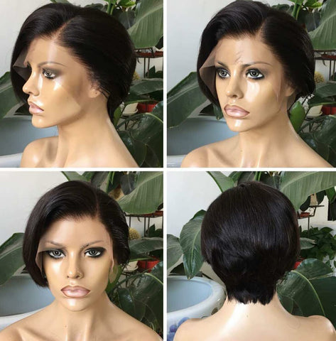 Mula Short Straight 150% Density Lace Front human Hair Wig - Mula Hair