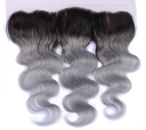 Ombre 1B/Grey Body Wave 13*4 Lace Frontal - Mula Hair
