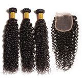 Brazilian Jerry Curly Bundles with 4*4 Lace Closure - Mula Hair