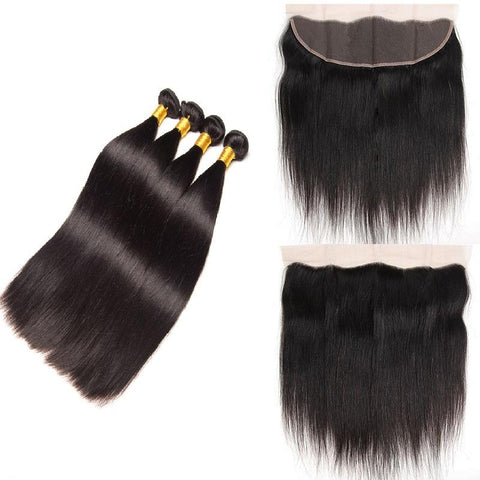 Peruvian Straight Bundles with 13*4 Lace Frontal - Mula Hair