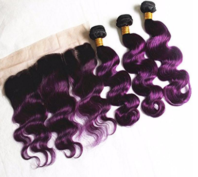 1B Purple Dark Root Brazilian Body Wave Human Hair Bundles with 13*4 Lace Frontal - Mula Hair