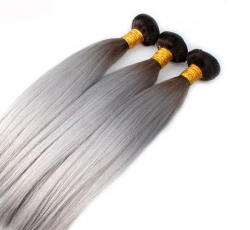 1 Bundle Ombre 1B/Grey Straight Human Hair (Brazilian, Indian, Peruvian & Malaysian) - Mula Hair