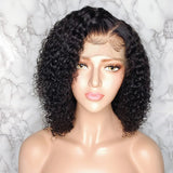 "Mula Hair 8"" Bob Wig 130 Density 13X6 Brazilian Curly Lace Front Human Hair W57"