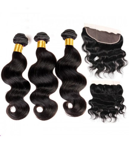 Peruvian Body Wave Bundles with 13*4 Lace Frontal - Mula Hair