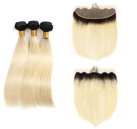 1B 613 Blonde Dark Root Brazilian Straight Human Hair Ombre Bundles with 13*4 Lace Frontal - Mula Hair