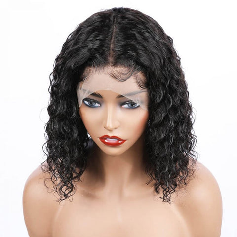 "Mula Hair 8"" Bob Wig 130 Density 13X6 Short Lace Front Human Hair Brazilian Water Wave Wig Pre Plucked W55"