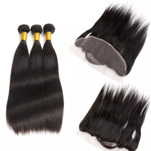 Malaysian Straight Bundles with 13*4 Lace Frontal - Mula Hair