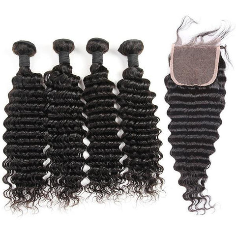 Malaysian Deep Wave Bundles with 4*4 Lace Closure - Mula Hair