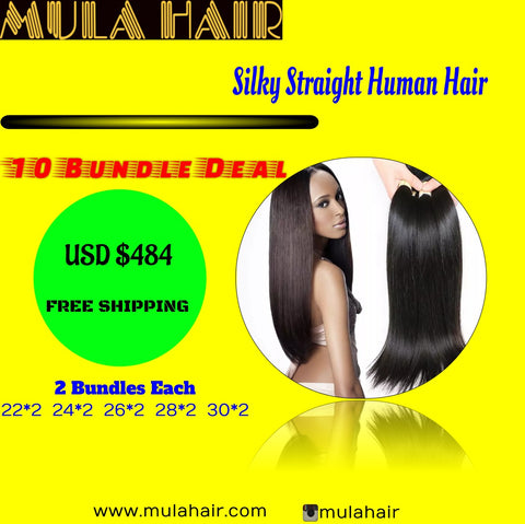 10 Bundles Silky Straight Human Hair 22,24,26,28,30  Brazilian, Malaysian, Peruvian & Indian - Mula Hair
