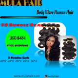 10 Bundles Body Wave Human Hair 22,24,26,28,30  Brazilian, Malaysian, Peruvian & Indian - Mula Hair