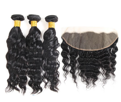 Brazilian Natural Wave Bundles with 13*4 Lace Frontal - Mula Hair