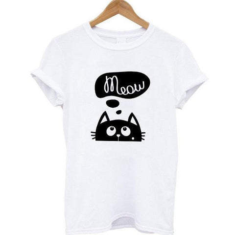 "T-shirt ""Meow Chat"" Blanc Femme"