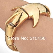 Heavy Stainless Steel Bangle Bracelet Fashion Men Biker Gold Shark