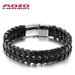 Trendy Jewelry Men Bracelet Black Leather Stainless Steel Bracelet