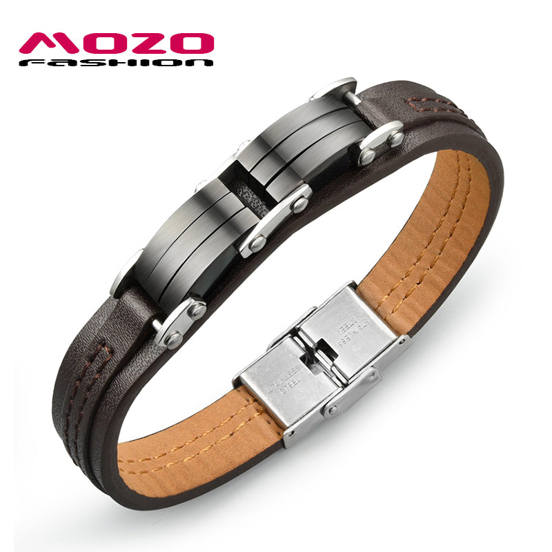 Brown Genuine PU Leather Men Vintage Bracelets Personality Gifts for Man Creative Accessories