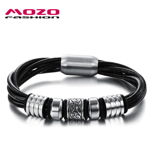 Cool Multilayer Twisted Leather Bracelets Male Vintage Stainless Steel Magnetic Buckle Bracelet