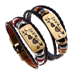 2Pcs / lot New lovers Bracelet Charm Double Heart Love Leather Bracelet Fashion Cheap Couple Jewelry For Men and Women