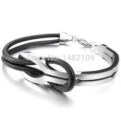 Men,Women's Stainless Steel Genuine Leather Bracelet Bangle Cuff Silver Black Infinity Love Sign Elegant