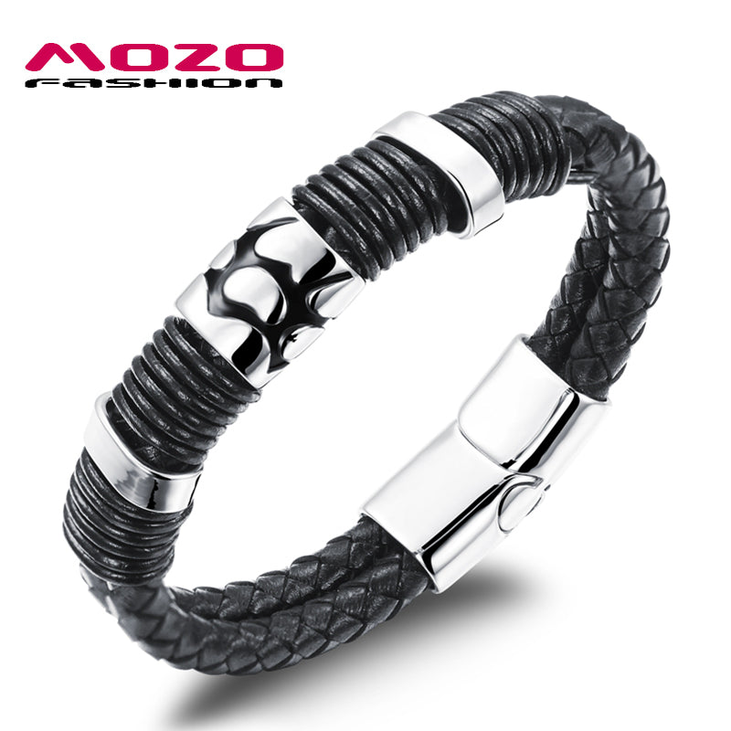 Men's Bracelets Black Leather Rope Chain Stainless Steel Magnetic Buckle Bracelet