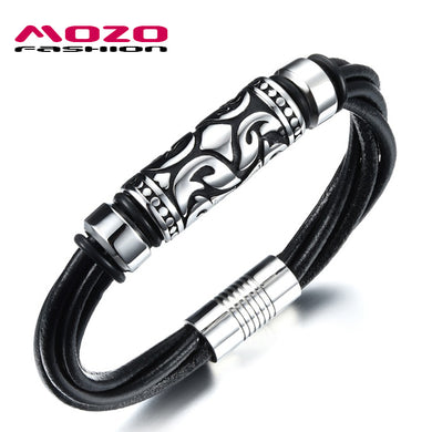 Men Bracelet Stainless Steel Magnetic Clasp Bracelet Twisted Multilayer Black Leather Bracelet Punk Jewelry