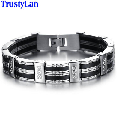 Men Bracelet High Quality Stainless Steel & Black Silicone Mens Bracelets Jewelry Wristbands Band