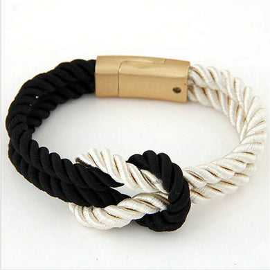 Braided Rope Chain with Magnetic Clasp Bow Charm Leather Bracelets & Bangles