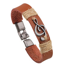 Charm Music Note Rock Bracelets Armband With Leather and Rope