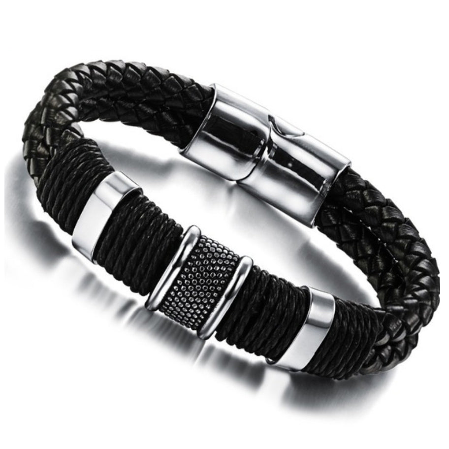Handmade Genuine Leather Weaved Double Layer Man Bracelets Casual/Sporty
