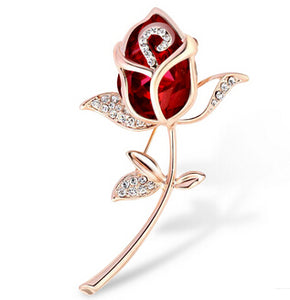 Crystal Rose Flower Brooch Pin Rhinestone Alloy Rose Gold Brooches Birthday Gift Garment Accessories