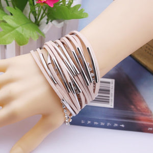 Hand Woven Multi-layer Leather Bracelet Fashion Male Personality Punk Bracelet