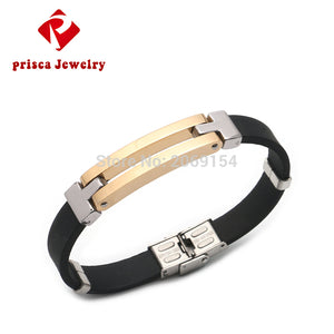 Bracelet Men Jewelry Charm Gold Bangle Silicone Rubber Wristband Colorful Jewelry Stainless Steel Silver Link Chain