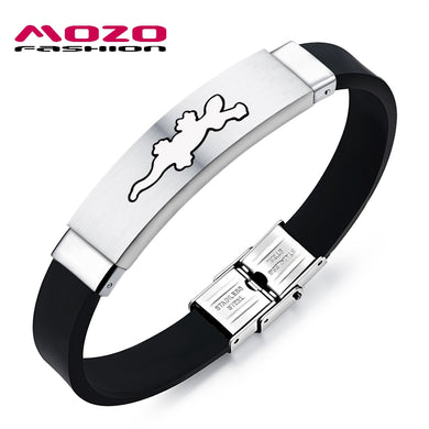 Men Bracelets Gecko Animal Shapes Stainless Steel Silicone Bracelet Good Luck Charm Bracelets