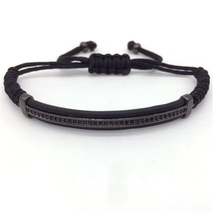 Micro Pave CZ Beads Leather Bracelets For Men Women
