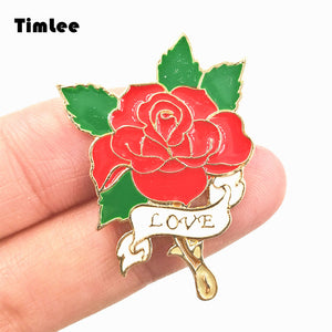 Red Rose LOVE Design Metal Brooch Pins