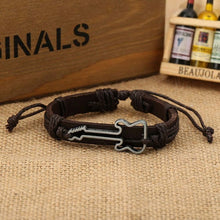 Hollow Guitar Leather Bracelet for Women And Men Jewelry Friendship Gift