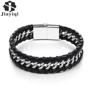 Punk Black Leather Bracelet Stainless Steel Bangle for Men Jewelry Magnetic Buckle Chain Couple Wristband 22/20.5cm