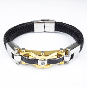 Fashion Fine Jewelry Men Leather Titanium Steel Bracelets Male Vintage Bracelet Personality Gifts Korean Style