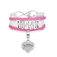 RUNNER zinc alloy antique silver plated charms bracelet pink and black colors