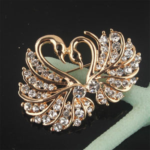 Yellow Chromed Love Swan Clear/Champagne/Pink Austrian Crystal Brooch Pin Jewelry