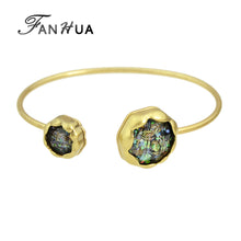 Gold-Color Open Cuff Bangles White Green Colorful Stone Bracelets for Women