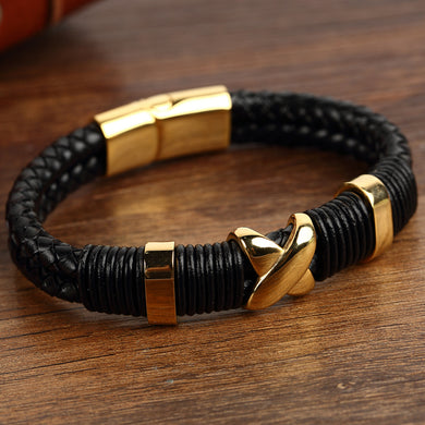 Trendy Double Braided Leather Bracelets Men Stainless Steel Gold Bifurcation Bangles For Men Bracelets