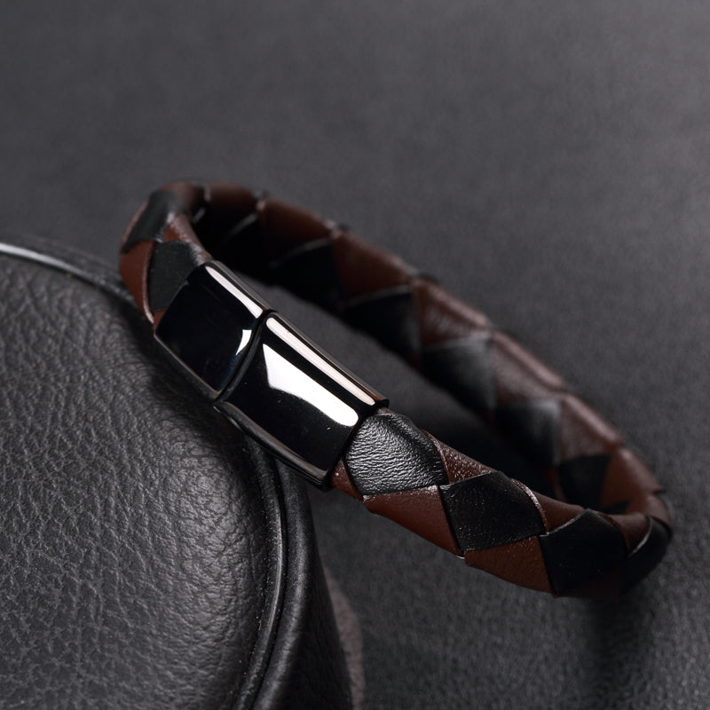 Trendy Jewelry 12mm Unique Mix Color Braided Leather Bracelet Men Stainlees Steel Cuff Bracelets & Bangles Male Female Bracelets