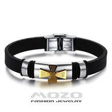 Silicone Bracelet Gold / Black Cross Stainless Steel Wristband Charm Bangles