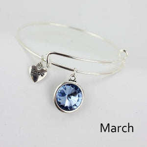 Silver bangles birthstone crystal bangle adjustable expandable wire love heart bracelet femme birth stone jewel
