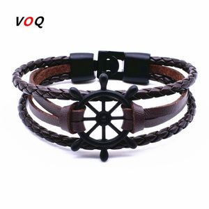Rudder Anchor Bracelet Men Jewelry Leather Bracelets Bangles for Women Fashion Best Love Navigation Gifts