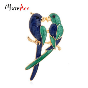 Vintage Dual Bird Kiss Love Parrot Brooches Cute Animal Epoxy Brooches & Pins For Women Gifts