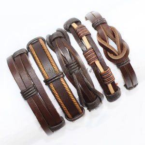 Black wristband genuine braided wrap leather bracelets men bangles for women