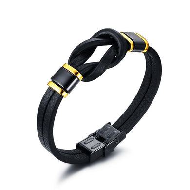 Mens Leather Bracelets Tribal Braided Knot Infinity Symbol Surfing Cuff Bangle Black Men Wristband